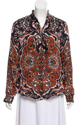 L'Agence Printed Silk Button-Up