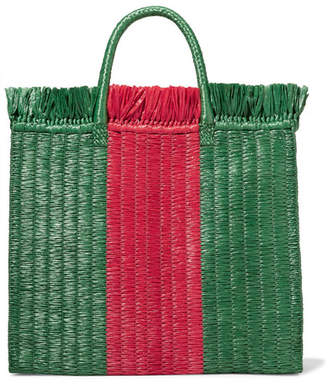 Gucci Striped Raffia Tote - Green