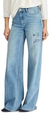 Lauren Ralph Lauren Logo Wide-Leg Jeans
