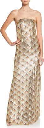 Oscar de la Renta Golden Fan-Embellished Strapless Gown