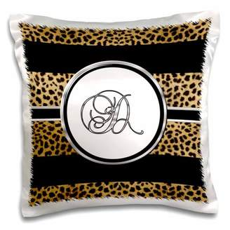 3dRose Elegant Cheetah Animal Print Monogram Letter D - Pillow Case, 16 by 16-inch