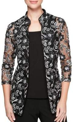 Alex Evenings Plus Two-Piece Floral Lace Jacket and Camisole