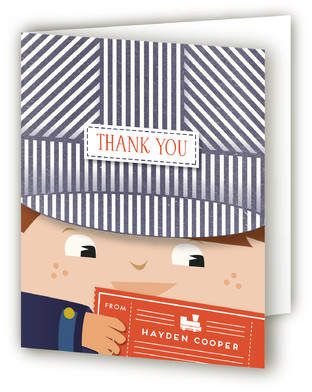 Little Train Engineer Children's Birthday Party Thank You Cards