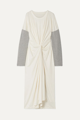 MM6 MAISON MARGIELA Oversized Twist-front Jersey-trimmed Stretch-knit Maxi Dress - White