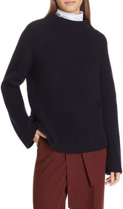 Vince Button Cuff Funnel Neck Sweater