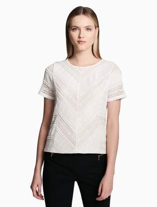 Calvin Klein ruffle lace short sleeve top