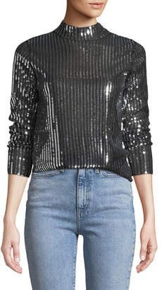 Tanya Taylor Grace Striped Sequin Long-Sleeve Top