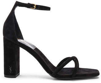 Saint Laurent Suede Pin Loulou Ankle Strap Sandals