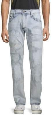 Long Flap Distressed Cotton Jeans