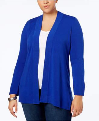 Karen Scott Plus Size Open-Front Cardigan