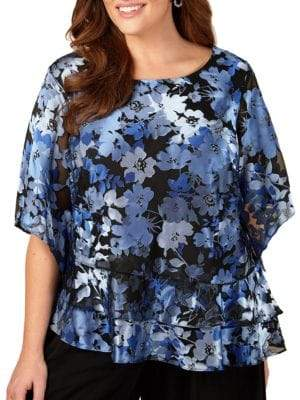 Alex Evenings Plus Floral-Print Triple-Tier Top