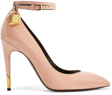 TOM FORD - Padlock Glossed-leather Pumps - Beige