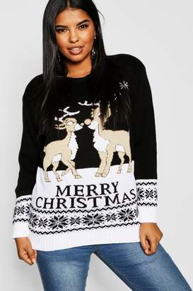boohoo Plus Reindeers Christmas Jumper
