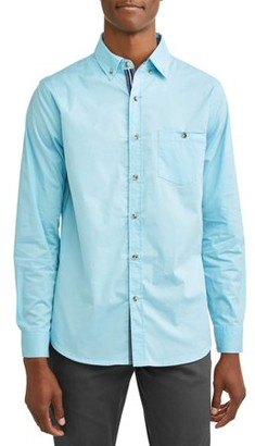 Lee Men's Long Sleeve Solid Stretch Poplin Woven, Available up to size XXL