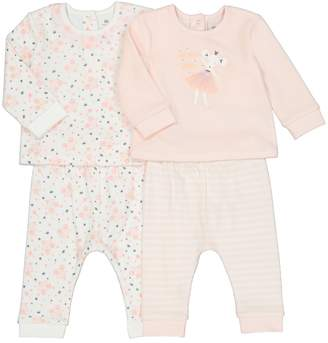 La Redoute COLLECTIONS Pack of 2 Velour Ballet Mouse Print Sleepsuits, 3 Months-4 Years