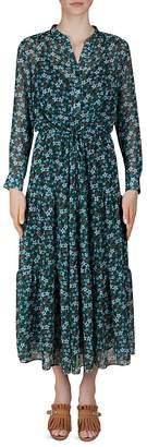 Gerard Darel Della Floral-Print Drawstring Midi dress