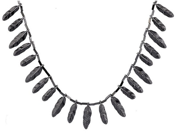 House Of Harlow Plated Feather Necklace with Pave