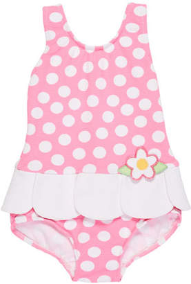 Florence Eiseman Petal-Skirt Polka-Dot One-Piece Swimsuit, Size 6-24 Months