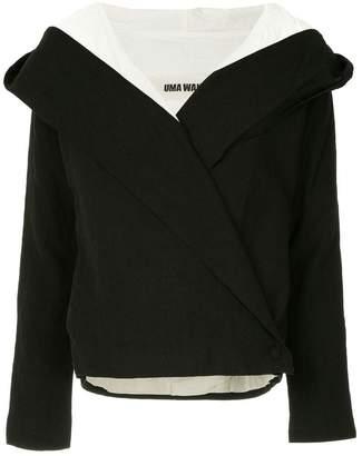 Uma Wang contrast lining hooded jacket