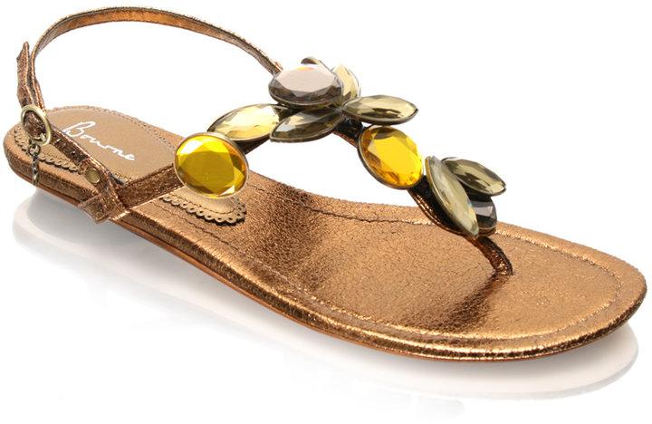 Bourne Metallic Oversized Gem Flat Sandal