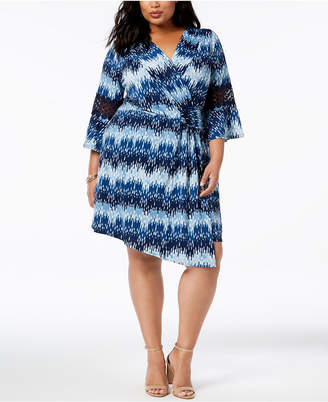 NY Collection Plus & Petite Plus Size Printed Wrap-Style Dress