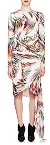 Givenchy Women's Wave-Print Gathered Silk Dress - White