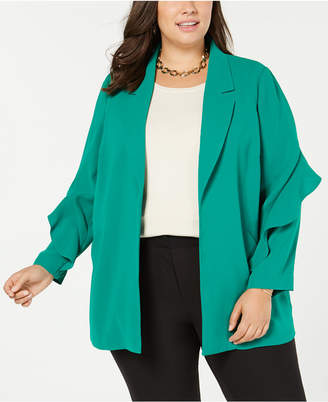 Alfani Plus Size Flounce-Sleeve Jacket, Created for Macy's