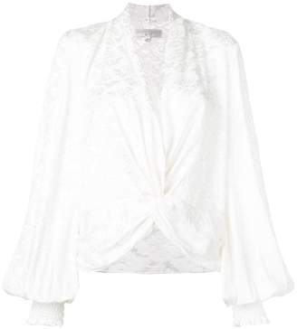 Caroline Constas floral gathered front blouse