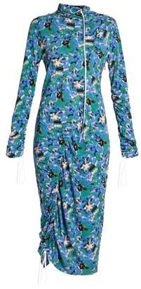 Marni Abstract Print Crepe Jersey Midi Dress - Womens - Blue Multi