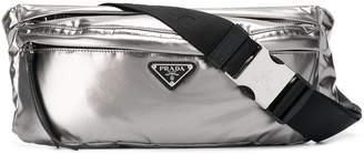Prada metallic logo belt bag