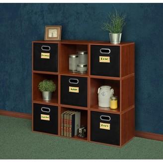 Cubo Regency Niche Storage Set, 9 Cubes and 5 Canvas Bins- Cherry/Black