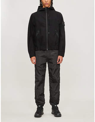 Stone Island Branded-patch hooded wool-blend jacket