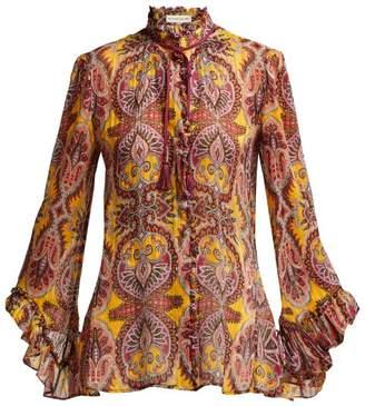 Etro Jasper Printed Silk Crepe Blouse - Womens - Yellow Multi