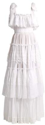 Dolce & Gabbana Cotton Mousseline Lace Trimmed Gown - Womens - White