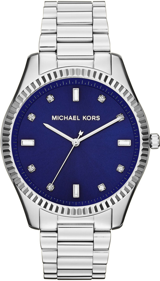 Michael Kors Mid-Size Silver Color Stainless Steel Felicity Three-Hand Glitz Watch