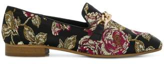 Tosca embroidered rose loafers