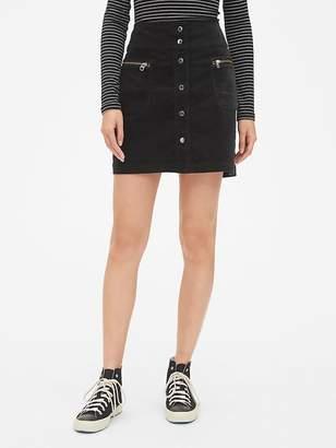 Gap High Rise Button-Front Velvet Mini Skirt