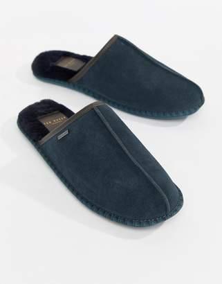 Ted Baker Parick mule slippers in navy suede