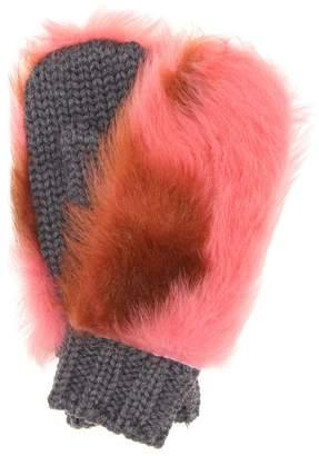 Prada Fur-trimmed wool mittens