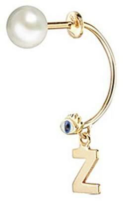 Delfina Delettrez 'ABC Micro Eye Piercing' freshwater pearl 18k yellow gold single earring - Z