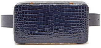 Lutz Morris - Evan Crocodile Effect Leather Belt Bag - Womens - Navy