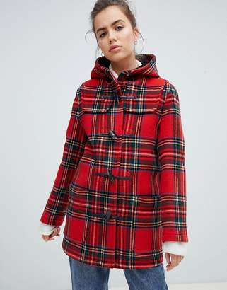 Gloverall Mid Length Duffle Coat in Check