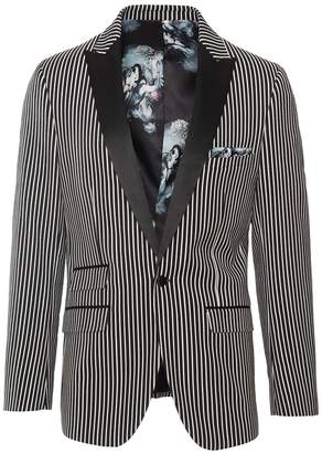 Paisley & Gray Grosvenor Black White Stripe One Button Peak Lapel Slim Fit Tuxedo Jacket