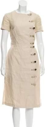 Altuzarra Wrap-Accent Linen Dress gold Wrap-Accent Linen Dress