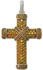Judith Ripka Sterling Pave Citrine Cross Enhancer