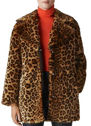 Whistles Leopard-Printed Faux Fur Coat