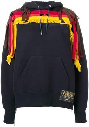 Sacai fringe detail hoodie