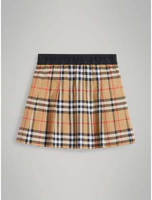 Burberry Childrens Pleated Vintage Check Cotton Skirt