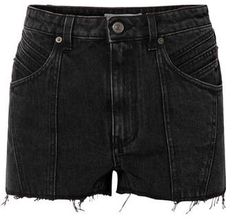 Givenchy Paneled Frayed Denim Shorts - Black