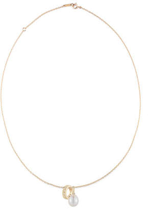 Mizuki 14K Gold Chain Necklace with Pearl & Diamond Sliders